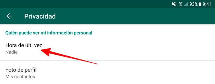 Desactivar la última vez que se vio WhatsApp