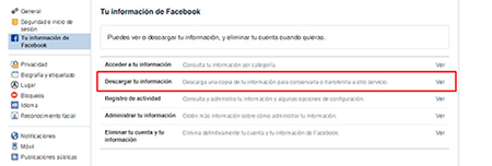 descargar informacion de facebook para eliminar despues