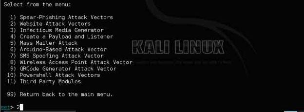 menu kali linux