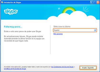 seleccionar idioma skype